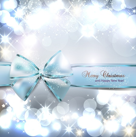 Elegant Christmas background with blue bow and place for text  Vector Illustration