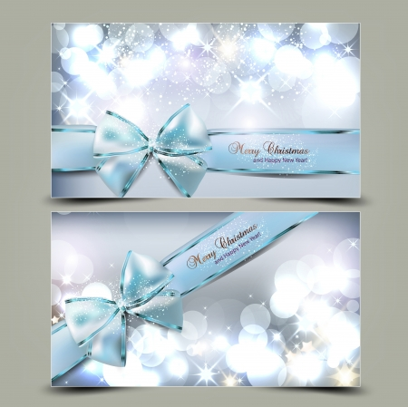 Elegant Christmas greeting cards with blue bows and place for text  Vector Illustration  Illustration