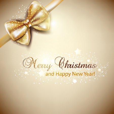 christmas menu: Elegant Christmas background with golden bow  Vector background