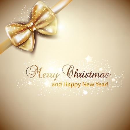 fiocco oro: Elegante sfondo Natale con sfondo dorato vettore arco Vettoriali