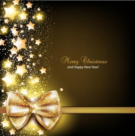estrellas de navidad: Elegante fondo de Navidad con fondo de oro Vector bow