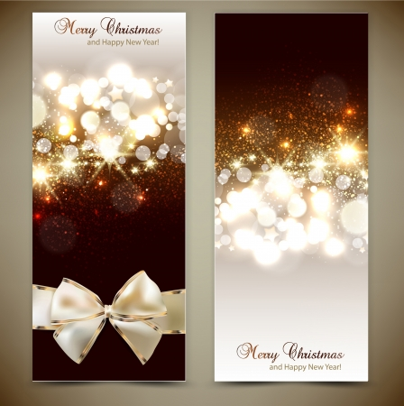 holiday celebration: Elegant greeting cards with bows and copy space  Vector illustration