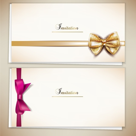 Collection of gift cards and invitations with ribbons  Vector background Illustration