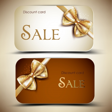 Collection of gift cards with ribbons  Vector background Illusztráció