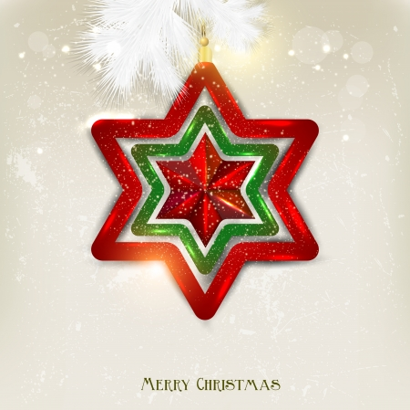 christmas stars: Christmas background with toy. Christmas star.  Illustration