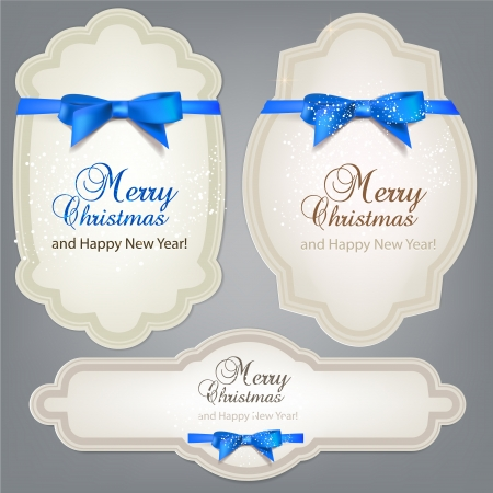 traditional events: Set of  Badges, Labels, Tags with  blue bows. Retro vintage style Illustration