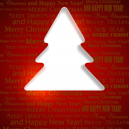 firtree: Winter background with Christmas tree hole in paper and copy space.