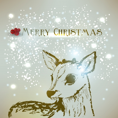 Old-fashioned Christmas background with deer.  Retro design.  Vector