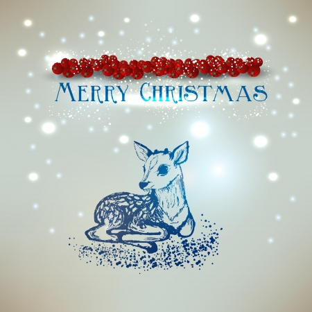 Old-fashioned Christmas background with deer.  Retro design. Hand drawn with place for text. Vector