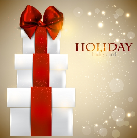 happy holidays card: Elegant background with Christmas gifts