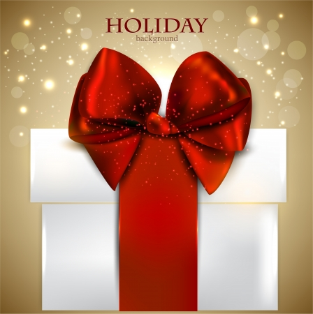 discount card: Elegant Christmas gift with red bow and space for text.