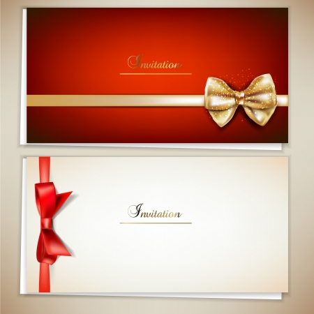 notepaper: Collection of gift cards and invitations with ribbons.