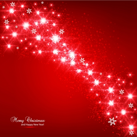 Elegant Christmas Red background with snowflakes and place for text. Stock fotó - 16028899