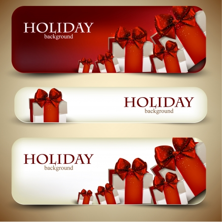 Holiday banners with beautiful gifts. Vector