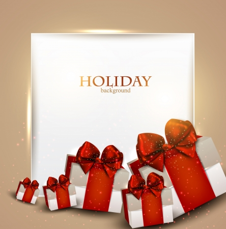 postcard box: Elegant background with Christmas gifts