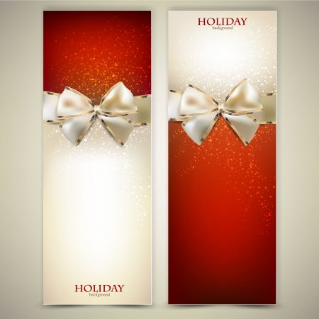 Elegant greeting cards with white bows and copy space.  Vector