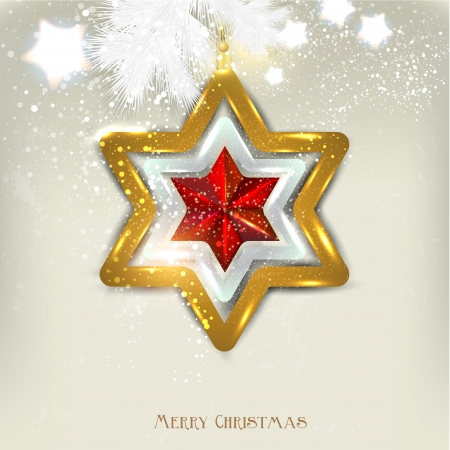 Christmas background with toy. Christmas star.  Vector