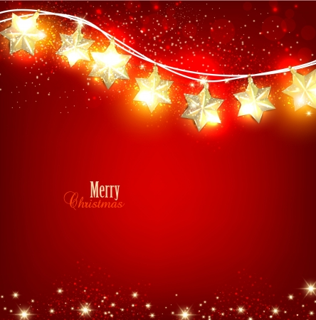 Red Christmas  background with luminous garland. Vector