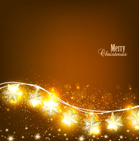 Brown Christmas  background with luminous garland.  Vector