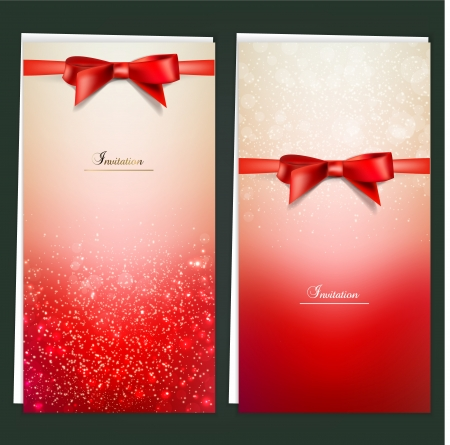 Elegant greeting cards with red bows and copy space. Stock fotó - 16029004