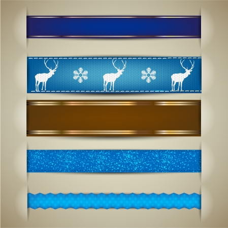 Set of Christmas decorative ribbons, bookmarks, banners.  Vector