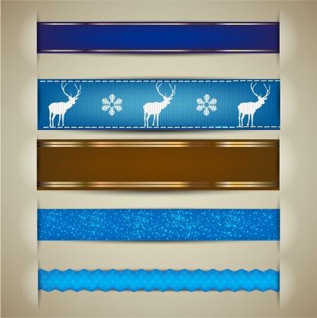 Set van Kerst decoratieve linten, bladwijzers, spandoeken. Vector Illustratie