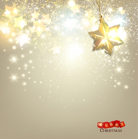 snowflake: Elegant Christmas background with golden stars and place for text.