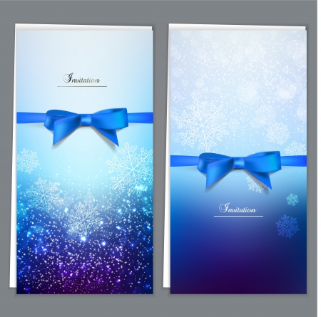 festive season: Elegant greeting cards with blue bows and copy space. Vector illustration Illustration