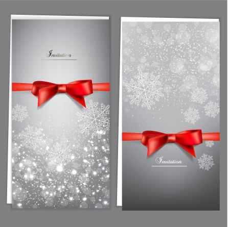 Greeting cards with red bows and copy space. Vector