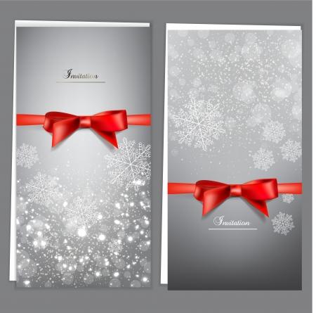 tarjeta de invitacion: Tarjetas de felicitaci�n con lazos rojos y copia espacio.