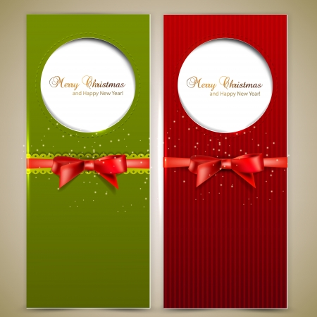 christmas banner: Greeting cards with red bows and copy space.