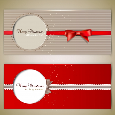 Greeting cards with  bows and copy space. Vector
