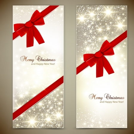 christmas menu: Greeting cards with red bows and copy space.