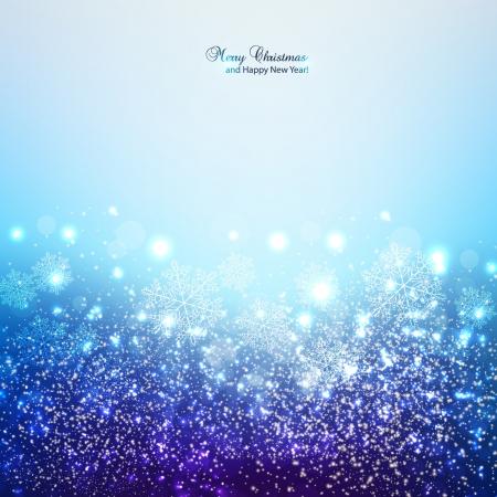 estrellas de navidad: Elegante fondo de Navidad con copos de nieve y lugar para el texto Ilustración vectorial
