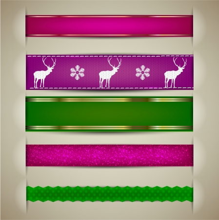 Set of Christmas decorative ribbons, bookmarks, banners  Vector illustration Vector