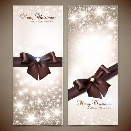note card: Collection of gift cards and invitations with ribbons  Vector background Illustration