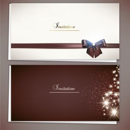 tarjeta de invitacion: Colección de tarjetas de regalo y las invitaciones con cintas Vector fondo