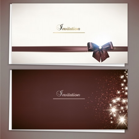 invitation card: Collection of gift cards and invitations with ribbons  Vector background Illustration