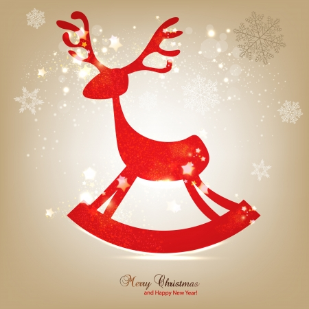 Christmas background with red deer Vector