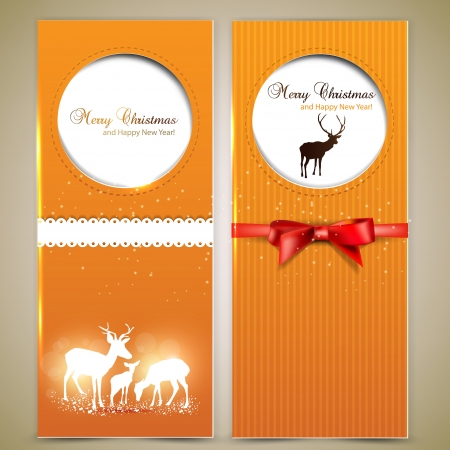 Collection of gift cards and invitations with deers  Vector background Vector