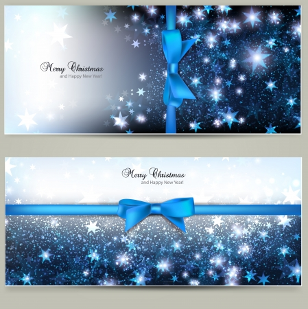 Elegant Christmas greeting cards with blue bows and place for text  Illustration