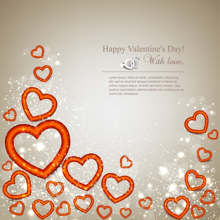 Elegant background with hearts  Valentine Vector