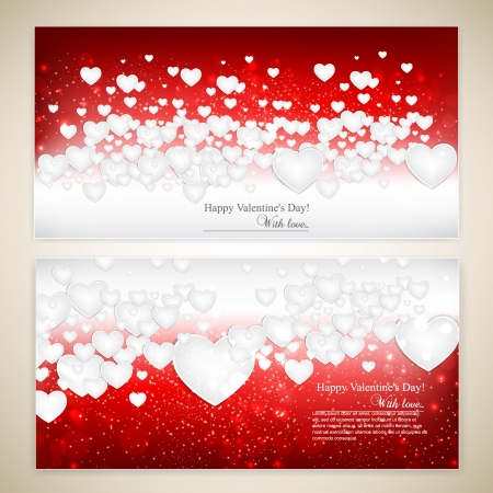 Beautiful greeting cards with white paper hearts and copy space. Valentine's day. illustration Vector
