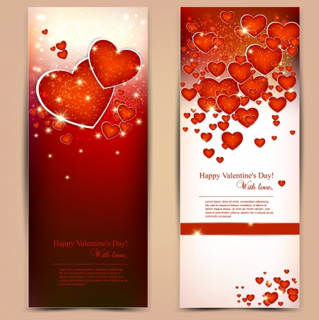 Beautiful greeting cards with red hearts and copy space. Valentines day. illustration Vector