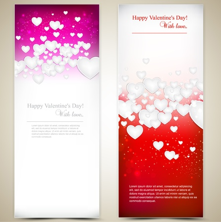 Beautiful greeting cards with white paper hearts and copy space. Valentines day. illustration Vector