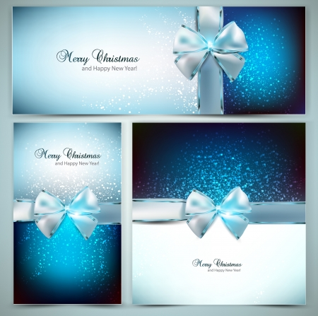Elegant Christmas greeting cards with blue bows and place for text. Illustration. Illusztráció