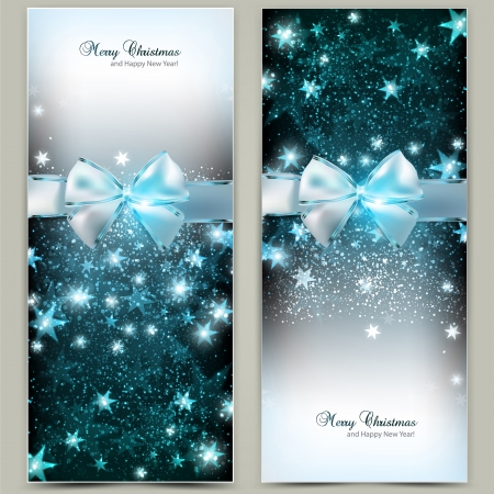 festive season: Elegant Christmas greeting cards with blue bows and place for text. Illustration. Illustration