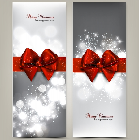spangle: Greeting cards with red bows and copy space. illustration Illustration