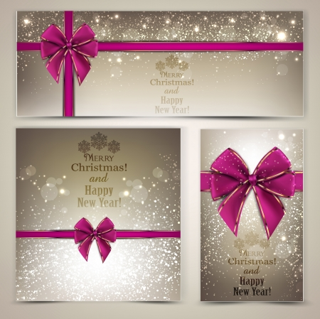 Greeting cards with beautiful bows and copy space Stock Vector - 16930658
