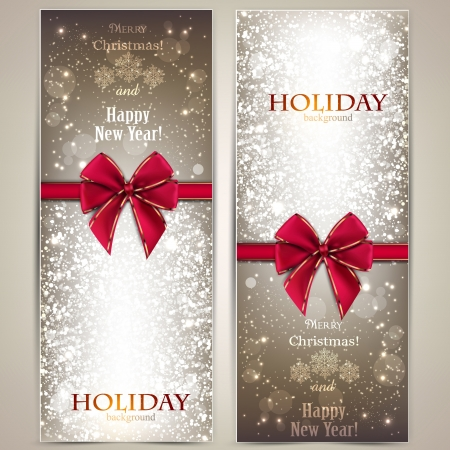 Greeting cards with red bows and copy space Stock Vector - 16930661